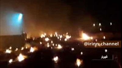 Zdjęcie nieba w momencie uderzenia irańskiej rakiety w ukraiński samolot.