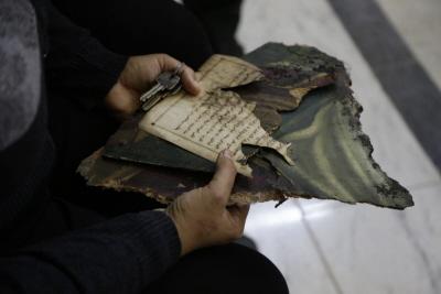 Chrześcijańskie święte księgi i obrazy zniszczone w kwietniu 2017 r. w zamachu bombowym na kościół Tanta