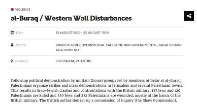 [Niepokoje przy al-Burak/Zachodniej Ścianie15 sierpnia 1929 – 29 sierpnia 1929<br />Syjoniści nie rządzący, Palestyna nie rządowa, Wielka Brytania rządząca<br />Jerozolima, Palestyna<br />Po politycznej demonstracji wojowniczych grup syjonistycznych pod przewodnictwem członków Betaru przy al-Burak Palestyńczycy zorganizowali strajki i masowe demonstracje w Jerozolimie i kilku palestyńskich miastach. Z tego wynikły arabsko-żydowskie starcia i konfrontacje z brytyjską armią. 133 Żydów i 120 Palestyńczyków zostało zabitych, a 339 Żydów i 232 Palestyńczyków odniosło rany, głównie z rąk brytyjskiej armii. Brytyjskie władze ustanowiły komisję dochodzeniową (Komisję Shawa).]