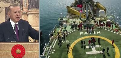 Obawiając się spadku popularności, szczególnie w obliczu nadciągającego kryzysu gospodarczego, islamistyczny władca Turcji, prezydent Recep Tayyip Erdoğan, wydaje się gonić za nowymi wojnami z rzeczywistymi lub wyimaginowanymi wrogami. (Zrzut z ekranu z wideo)