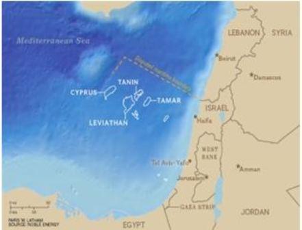 Pola gazu ziemnego Izraela, Tamar i Lewiatan (źródło: Fars, 29 listopada 2014).