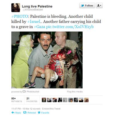 """Pracownica OCHA biura ONZ do spraw koordynacji pomocy humanitarnej, Khulood Badawi, wysłała tweet ze zdjęciem zakrwawionego dziecka i podpisem """"Kolejne dziecko zabite przez Izrael"""". Sześć lat wcześniej w 2006 roku to samo zdjęcie było opublikowane przez agencję Reutersa z podpisem, że dziewczynka spadła z huśtawki. W odpowiedzi na zarzuty, przełożony pracownicy OCHA odpowiedział, że Badawi opublikowała zdjęcie na prywatnym koncie, a jej aktywność nie była związana z pracą dla ONZ."""