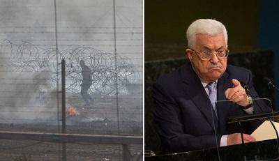 Po lewej: Palestyński uczestnik zamieszek za zasłoną dymną z płonących opon przy granicy Gazy z Izraelem, 8 czerwca 2018 r. (Zdjęcie: Ilia Yefimovich/Getty Images) Po prawej: Prezydent Autonomii Palestyńskiej Mahmoud Abbas. (Zdjecie: Kevin Hagen/Getty Images)