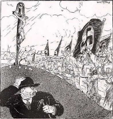 """Zanim przyszła ideologia ISIS umysły ludzi atakowała ideologia nazistowskiego antysemityzmu oparta na chrześcijańskim antyjudaizmie. (Rysunek z nazistowskiego tygodnika """"Der Stürmer"""" z 1929 roku)"""