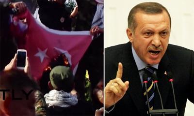 Zwolennicy milicji szyickich Iraku palą flagi tureckie w Bagdadzie w tym miesiącu, po tym jak prezydent Erdogan odmówił wycofania wojski tureckich w północnego Iraku.