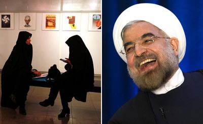 Przez zaprzeczanie jakiegokolwiek udzia�u w takich konferencjach prezydent Rouhani (po prawej) i minister spraw zagranicznych, Zarif udaj� �agodniejszy ton na scenie mi�dzynarodowej, podczas gdy w kraju utrzymuje si� nietkni�te podstawy polityki Chameneiego i IRGC.<br />