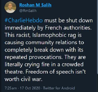 [Władze francuskie muszą natychmiast zamknąć Charlie Hebdo. Ta rasistowska, islamofobiczna szmata powoduje całkowite załamanie stosunków społecznych swoimi wielokrotnymi prowokacjami. Dosłownie krzyczą ogień w zatłoczonym teatrze. Wolność słowa nie jest warta wojny domowej]