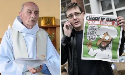 """Wróg gotów masakrować najbardziej wykpiwających wszelką religię sekularystów i najbardziej pobożnego księdza, w miejscach ich pracy, jest wrogiem, który ma na celowniku całą cywilizację i kulturę francuską. Po lewej: ojciec Jacques Hamel, zamordowany wczoraj w Rouen we Francji przez islamskiego dżihadystę. Po prawej: Stéphane Charbonnier, redaktor naczelny i wydawca """"Charlie Hebdo"""", zamordowany wraz z wieloma kolegami w Paryżu 7 stycznia 2015 r. przez islamskich dżihadystów."""