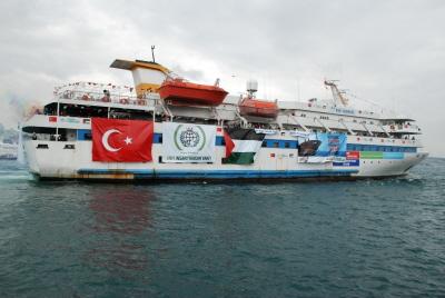 """Statek turecki Mavi Marmara, który brał udział w próbie przełamania izraelskiej blokady morskiej Gazy w 2010 r. przez """"Flotyllę do Gazy"""". (Zdjęcie: \"""