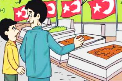 Turecki Zarząd Główny ds. Religijnych (Diyanet), najwyższa oficjalna władza religijna w kraju, wydała niedawno komiks dla dzieci narodu, mówiąc im, jak cudownie jest zostać islamskim męczennikiem.<br />