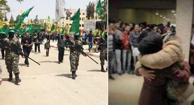 """Po lewej: Zwolennicy Hamasu pokazani na zrzucie z ekranu z filmu wideo, jak maszerują podczas wiecu wyborczego do rady studenckiej na Uniwersytecie Bir Zeit w pobliżu Ramallah, 20 kwietnia 2015 r. Po prawej: Uniwersytet Kadoori wTulkarem zawiesił w tym miesiącu studenta, który publicznie uściskał swoją narzeczoną. Student został oskarżony o """"nieskromne zachowanie"""" i czeka go sprawa dyscyplinarna."""