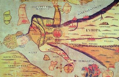 Stara mapa przedstawiająca Europę w kształcie królowej, która trzyma berło i jabłko królewskie, z Portugalią jako koroną, Hiszpanią jako twarzą, Francją poniżej szyi, Niemcami i Danią jako lewą ręką, Włochami jako prawą ręką (z Sycylią jako kulą) i resztą środkowej i wschodniej Europu jako szatą(zdjęcie: Wikimedia Commons)