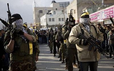 Demostracja siły bojowników Fatahu w Ramallah (photo credit: AP Photo/Majdi Mohammed)
