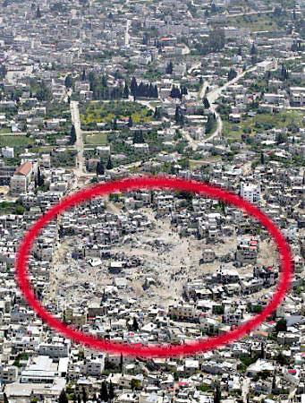Zdjęcie lotnicze obszaru, na którym toczyły się walki.