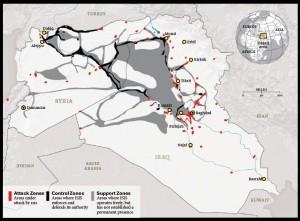Dla zwolenników IS najważniejsza jest kontrola terytorium. Mapa, opracowana przez Institute for the Study of War, pokazuje obszar pod kontrolą kalifatu 15 stycznia 2015 r. Tam, gdzie IS przejęło władzę, zbiera podatki, reguluje ceny, wprowadza system sądowniczy, a także usługi – od służby zdrowia przez edukację do telekomunikacji.