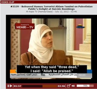 Tamimi opowiada w bardzo popularnym wideo. że ludzie jadący z nią taksówką, po usłyszeniu eksplozji i informacji radiowej o zabiciu wielu dzieci żydowskich, wybuchli radością<br /> [Zrzut z ekranu z wideo z tym wywiadem]