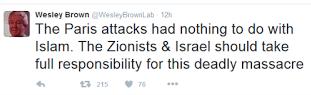 (Paryskie ataki nie mają nic wspólnego z islamem. Syjoniści i Izrael powinni przyjąć pełną odpowiedzialność za tą śmiertelna masakrę.)