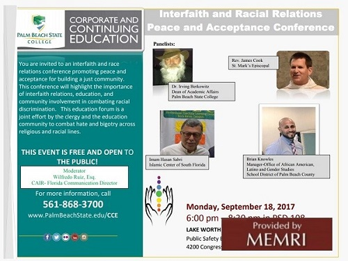 Zaproszenie na Interfaith and Racial Relations Peace and Acceptance Conference (Źródło: Palmbeachstate.edu/CCE/documents/InterfaithFlyer.pdf)