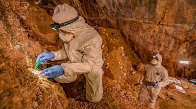 """Wykopaliska w jaskini, zdjęcie ze streszczenia w """"Science"""" (Badacze zrobili wykop w Chiquihuite Cave na około 3 metry głębokości, znajdując prawie dwa tysiące kamiennych narzędzi.) Zdjęcie Devlin A. Gandy"""