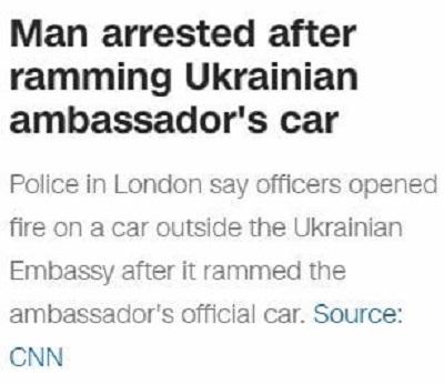 [Mężczyzna aresztowany po staranowaniu samochodu ukraińskiego ambasadoraPolicja w Londynie mówi, że policjanci otworzyli ogień do samochodu przed ukraińską ambasadą, po tym, jak staranował on służbowy samochód ambasadora]