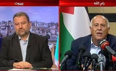 Prezydent Autonomii Palestyńskiej, Mahmoud Abbas i jego rządząca frakcja, Fatah, przymilają się teraz do swoich rywali w Hamasie – krok, który może przynieść efekt odwrotny od zamierzonego i utorować drogę do olbrzymiej przemocy antyizraelskiej. Na zdjęciu: wysoki rangą funkcjonariusz Fatahu, Dżibril Radżoub, w Ramallah, uczestniczy w wideo-konferencji z wiceprzewodniczącym Hamasu, Salehem Arourim, 2 lipca 2020. (Zrzut z ekranu: Palestinian TV)