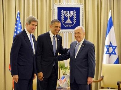Prezydent USA Barack Obama i sekretarz stanu spotykają się z prezydentem Szimonem Peresem w Jerozolimie, marzec 2013 rok. Foto: AFP