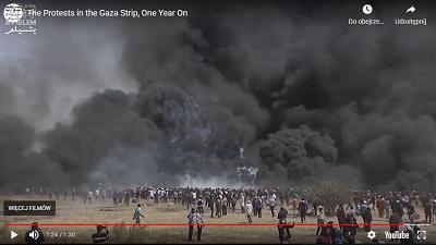 """Organizowane przez Hamas protesty na rzecz ochrony środowiska. """"Działacze"""" środowiskowi Hamasu tydzień w tydzień palą tysiące opon samochodowych o czym dziennikarze głównego ścieku nigdy nie wspominają. (Zdjęcie: zrzut z ekranu propagandowego wideo organizacji """"na rzecz praw człowieka"""" B'Tselem.)"""