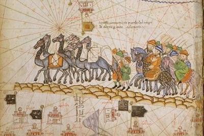 Karawana na Jedwabnym Szlaku, 1380, Cresques Abraham, Atlas catalan, domena publiczna, Wikipedia
