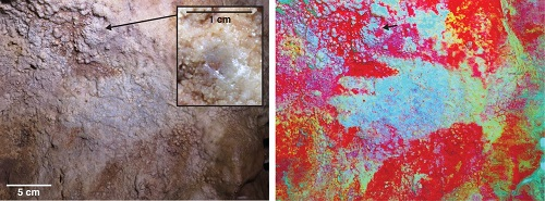 Fig. 2. Hand stencil GS3b in Maltravieso cave (minimum age 66.7 ka). (Left) Original photo. The inset shows where the overlying carbonate was sampled for MAL 13. (Right) Same picture after application of the DStretch software (25) (correlation LRE 15%, auto contrast) to enhance color contrast. See (20) for details.
