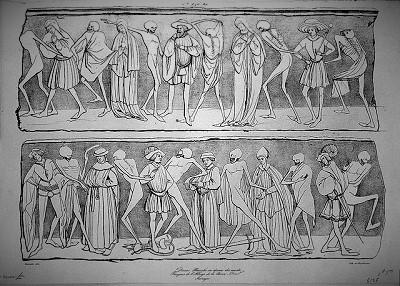 <span>Danse Macabre ou danse des morts, Fresques de l'Abbaye de la Chaise-Dieu, Auvergne, Adrien Dauzats (1804-1868)</span>