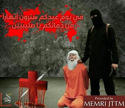 """Plakat opublikowany przez zwolennika ISIS Hutama Al-Maqdisiego 8 grudnia 2018 r. pokazuje bojówkarza ISIS tuż przed wykonaniem egzekucji Świętego Mikołaja z zakrwawionym krzyżem przeszytym mieczem obok. Napis na plakacie w wersji arabskiej: """"W wasze święto zobaczycie rzeki krwi, Krzyżowcy"""". Podpis pod angielskojęzyczną wersją """"Egzekucji św. Mikołaja"""" brzmi: """"Nie wychodź z domu, bo pragniemy twojej krwi\"""