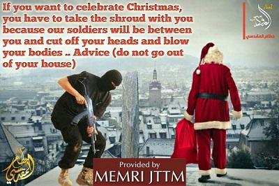 """Plakat stworzony przez zwolennika ISIS Hutama Al-Maqdisiego, opublikowany 10 grudnia 2018, pokazuje Świętego Mikołaja z workiem, który stoi na dachu z widokiem na zachodnie miasto i z uzbrojonym bojówkarzem ISIS za sobą. Podpis brzmi: """"Jeśli chcesz obchodzić Boże Narodzenie, musisz wziąć ze sobą całun, bo nasi żołnierze będą wśród was i odetną wasze głowy i wysadzą w powietrze wasze ciała. Rada: Nie wychodź z domu""""."""