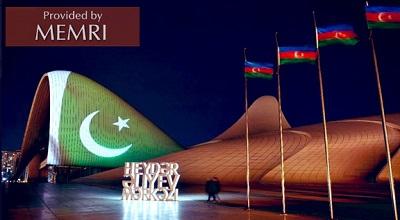 W Dzień Solidarności z Kaszmirem Centrum Hejdara Alijewa w Baku oświetlono pakistańską flagą