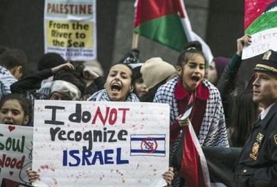Protestujący w Ameryce przeciw istnieniu Izraela