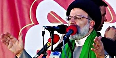 <span>Irański prezydent-elekt Ebrahim Raisi na wiecu przedwyborczym w Isfahanie. (Zrzut z ekranu wideo)</span>
