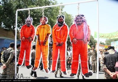 Król saudyjski Salman, przywódca ISIS Abu Bakr Al-Baghdadi, prezydent Obama i premier izraelski Netanjahu powieszeni jako kukły (IRNA, Iran, 1 lipca 2016)