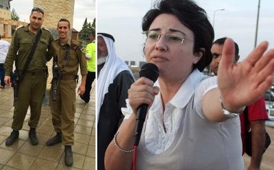 Major IDF Ehab Szlajan (z lewej) jest chrześcijaninem aramejskim z Nazaretu i założycielem Chrześcijańskiego Forum Rekrutacyjnego, które zachęca izraelskich chrześcijan aramejskich do służby w armii. Muzułmańsko-arabska członkini Knessetu, Haneen Zoabi (po prawej) groziła niedawno przedstawicielom chrześcijan izraelskich, odrzucając ich oświadczenie, że są odrębną grupą etniczną aramejsko-chrześcijańską, i nalegając na wmuszenie im tożsamości arabskiej i palestyńskiej.