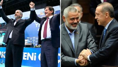 Przymilanie się do Hamasu: Premier turecki Ahmet Davutoglu pozuje z Chaledem Maszaalem, przewodniczącym Biura Politycznego Hamasu (po lewej). Prezydent turecki Recep Tayyip Erdogan pozuje z przywódcą Hamasu w Gazie, Ismailem Haniją (po prawej).