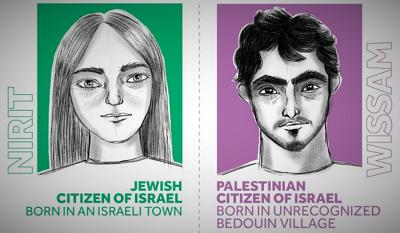 <span>Na rysunku Human Rights Watch przedstawia błędnie i stereotypowo żydowską Izraelkę ze znacznie jaśniejszą skórą niż arabskiego Izraelczyka.</span>