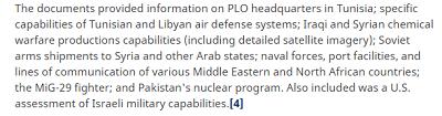 Dokumenty dostarczały informacji na temat kwatery głównej OWP w Tunezji, zdolności tunezyjskiego i libijskiego systemu obrony przeciwlotniczej, irackich i syryjskich możliwości produkcji broni chemicznej (włącznie ze szczegółowymi zdjęciami satelitarnymi), radzieckie dostawy morskie dla Syrii i innych państw arabskich, urządzenia portów i linii komunikacyjnych w różnych krajach Bliskiego Wschodu i Północnej Afryki, myśliwców [radzieckich] MIG29, pakistańskiego programu nuklearnego. Jak również zawierały amerykańską ocenę izraelskich możliwości militarnych.