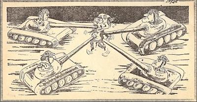 <span>Rysunek z gazety egipskiej z maja 1967.</span>