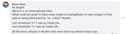 """[To jest zainscenizowane, Byłoby wspaniałe dla masowych mediów islamofobów mieć bigota wolności słowa zdekapitowanego przez """"tak zwanego"""" muzułmanina. Tylko pamiętajcie, że 9-11 było wewnętrzną robotą. Tylko pamiętajcie, że 7/7 było wewnętrzną robotą. Wszystkie ataki terrorystyczne w ziemiach muzułmańskich to były zachodnie czarne operacje]"""