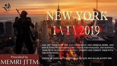 Plakat opublikowany przez popierającą ISIS fundację Al-Dir' Al-Sunni 2 grudnia 2018 r. pokazuje bojówkarza ISIS patrzącego na Manhattan w płomieniach. Plakat opatrzony jest cytatem z wypowiedzi rzecznika ISIS, Abu Muhammada Al-'Adnaniego: \
