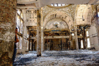 Spalony kościół koptyjski w Egipcie