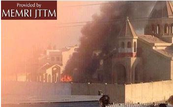 Pożar kościoła w Mosulu (zdjęcie: Al-Arabiyya.net, 19 lipca 2014)