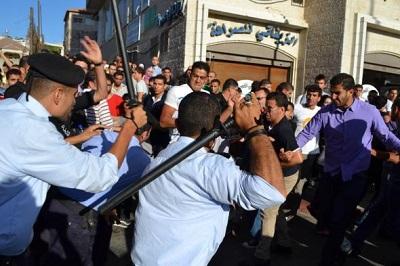 Palestyńska policja rozprasza demonstrację w Ramallah