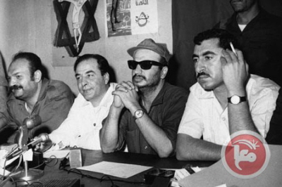 Fighters for freedom and democracy. PLO Chairman Arafat (in the middle) at a press conference in Jordan(Photo credit: Keystone/Hulton Archive/Getty Images)