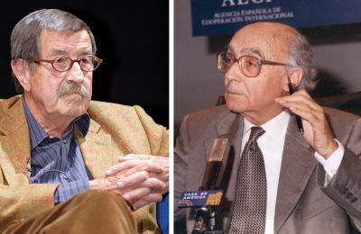 Laureaci Nobla, którzy demonizowali: pisarz niemiecki Grass (po lewej), służył w młodości w SS, a na starość twierdził, że Izrael grozi Iranowi nuklearnym ludobójstwem. Pisarz portugalski José Saramago (po prawej), dał wiarę wypaczonej, demonizującej wizji, czego wynikiem było perwersyjne porównanie między Hitlerem a Izraelem.
