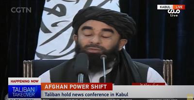 Pilnym pytaniem, przed którym stoją wszyscy, jest to, czy uznać, czy nie uznać Talibanu jako legalnego rządu Afganistanu. Na zdjęciu: rzecznik Talibanu przemawia podczas konferencji prasowej w Kabulu (Zdjęcie: Zrzut z ekranu wideo)