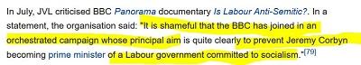 """[W lipcu JVL krytykowała film dokumentalny BBC Panorama """"Czy Partia Pracy jest antysemicka?\"""